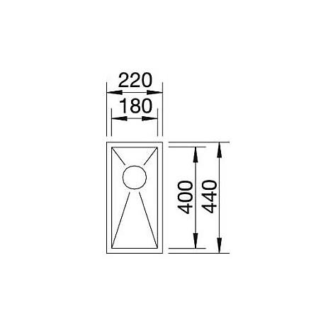 1517236 zerox 180-if 4 mm blanco lavello 22x44 1 vasca senza sgocciolatoio inox satinato