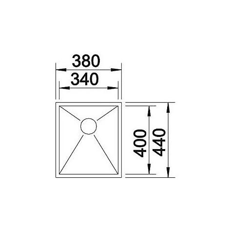 1517239 zerox 340-u blanco lavello 38x44 1 vasca senza sgocciolatoio inox satinato sottotop