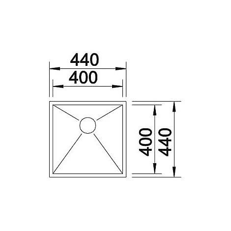 1517240 zerox 400-if 4 mm blanco lavello 44x44 1 vasca senza sgocciolatoio inox satinato