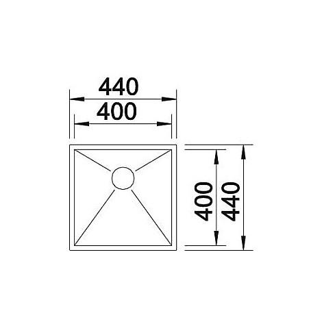 1517241 zerox 400-u blanco lavello 44x44 1 vasca senza sgocciolatoio inox satinato sottotop