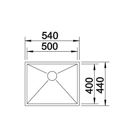 1517244 zerox 500-if 4 mm blanco lavello 54x44 1 vasca senza sgocciolatoio inox satinato