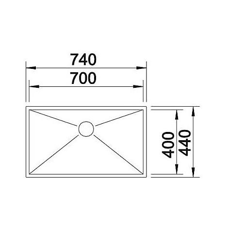 1517249 zerox 700-u blanco lavello 74x44 1 vasca senza sgocciolatoio inox satinato sottotop