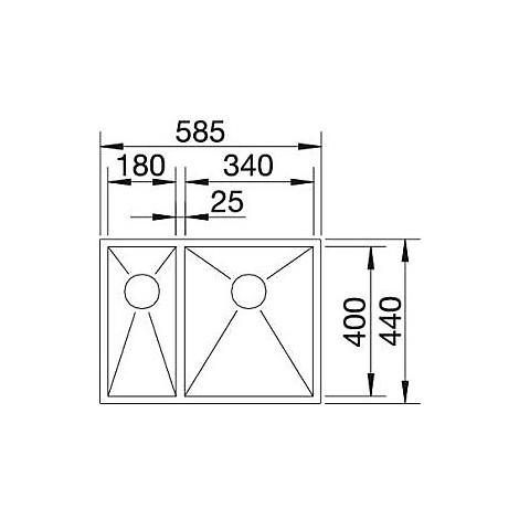 1517255 zerox 340/180-u blanco lavello 59x44 2 vasche senza sgocciolatoio inox satinato