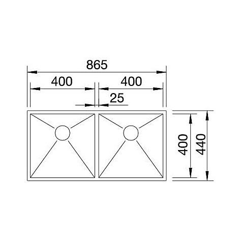 1517258 zerox 400/400-if 4 blanco lavello 87x44 2 vasche senza sgocciolatoio inox satinato