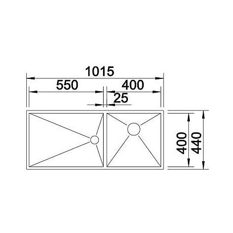 1517262 zerox 400/550-t-u blanco lavello 102x44 2 vasche sgocciolatoio a destra inox satinato