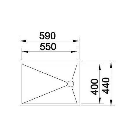 1517275 zerox 550-t-if 4 mm blanco lavello 59x44 1 vasca senza sgocciolatoio inox satinato