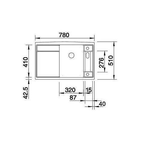 1517285 axia ii 45 s tartufo blanco lavello 78x51 1 vasca sgocciolatoio a sinistra silgranit