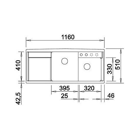 1517298 axia ii 8 s tartufo blanco lavello 116x51 2 vasche sgocciolatoio a sinistra silgranit