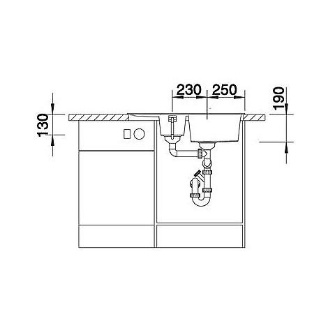 1517353 metra 6 s compact blanco lavello 78x50 2 vasche reversibile silgranit tartufo