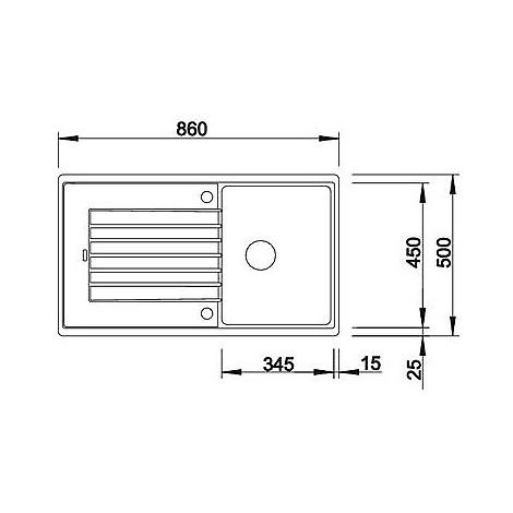 1517414 zia 45 sl tartufo blanco lavello 86x50 1 vasca reversibile silgranit sopratop