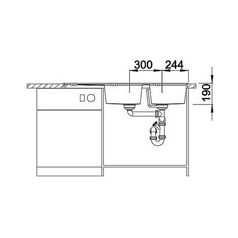 1517422 zia 8 s tartufo blanco lavello 116x50 2 vasche reversibile silgranit sopratop