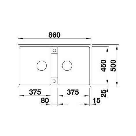 1517424 zia 9 tartufo blanco lavello 86x50 2 vasche senza sgocciolatoio silgranit sopratop