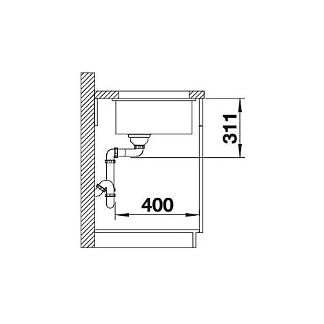 1517434 subline 500-u tartufo blanco lavello 53x46 1 vasca senza sgocciolatoio silgranit sottotop