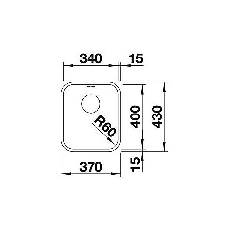 1518199 supra 340-u blanco lavello 37x43 1 vasca senza sgocciolatoio inox