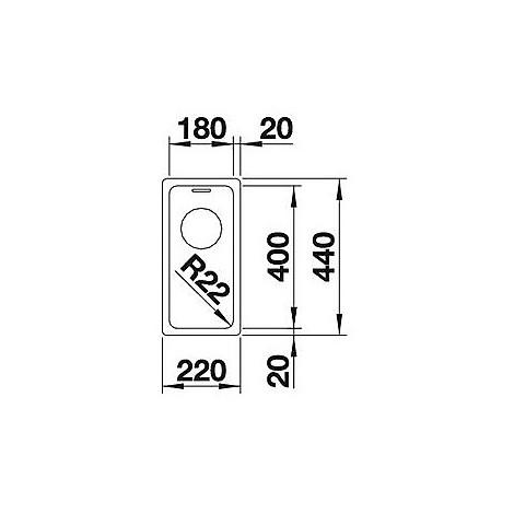 1518301 andano 180-u blanco lavello 22x44 1 vasca senza sgocciolatoio inox satinato sottotop