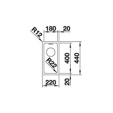 1518303 andano 180-if blanco lavello 22x44 1 vasca senza sgocciolatoio inox satinato