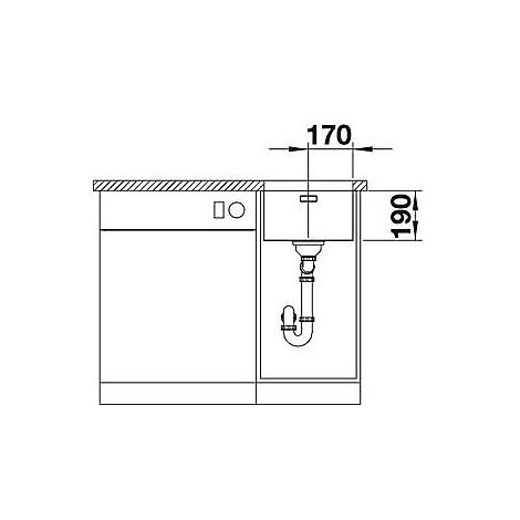 1518305 andano 340-u blanco lavello 38x44 1 vasca senza sgocciolatoio inox satinato sottotop