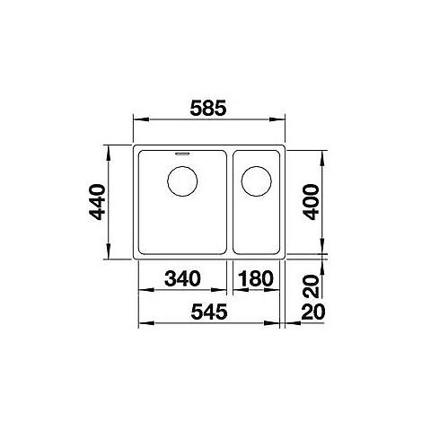 1518317 andano 340/180-u blanco lavello 59x44 2 vasche senza sgocciolatoio inox satinato