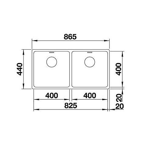 1518325 andano 400/400-u blanco lavello 87x44 2 vasche senza sgocciolatoio inox satinato
