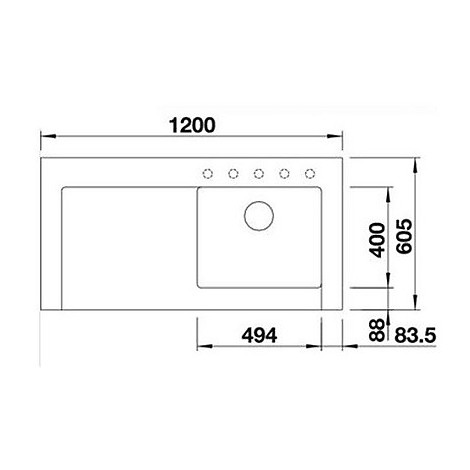 1518330 modex-m 60 alumet blanco lavello 120x61 1 vasca sgocciolatoio a sinistra silgranit