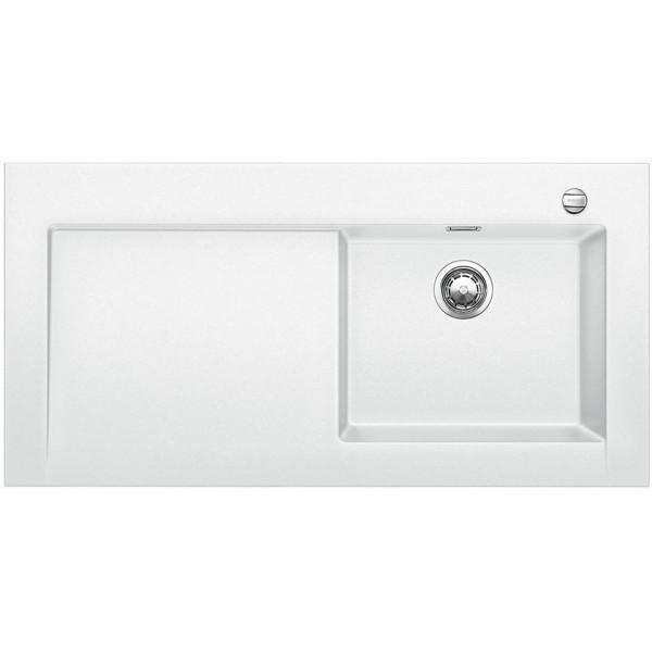 1518331 modex-m 60 bianco blanco lavello 120x61 1 vasca sgocciolatoio a sinistra silgranit