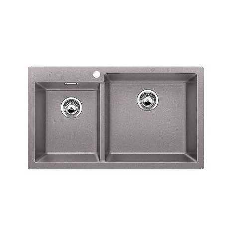 1518346 pleon 9 alumetallic blanco lavello 86x50 2 vasche senza sgocciolatoio silgranit sopratop