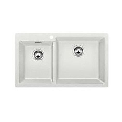 1518347 pleon 9 grigio seta blanco lavello 86x50 2 vasche senza sgocciolatoio silgranit sopratop