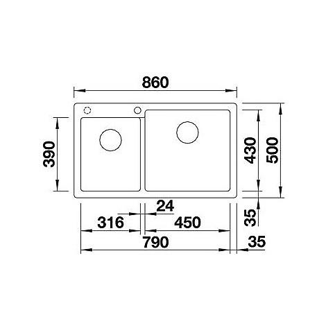 1518348 pleon 9 bianco blanco lavello 86x50 2 vasche senza sgocciolatoio silgranit sopratop
