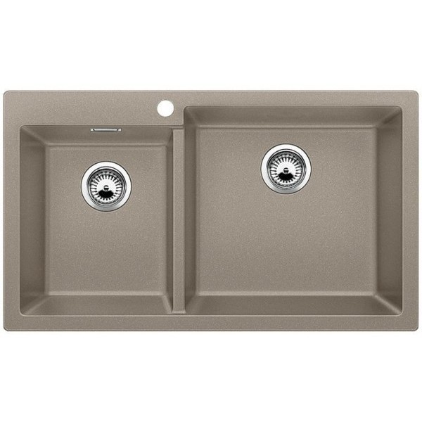 1518352 pleon 9 tartufo blanco lavello 86x50 2 vasche senza sgocciolatoio silgranit sopratop