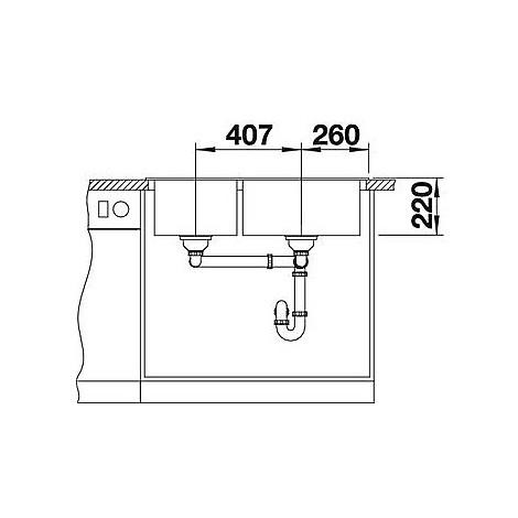 1518353 pleon 9 caffè blanco lavello 86x50 2 vasche senza sgocciolatoio silgranit sopratop