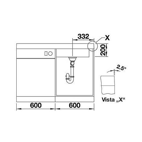 1518372 modex-m 60 grigio se blanco lavello 120x61 1 vasca sgocciolatoio a sinistra silgranit