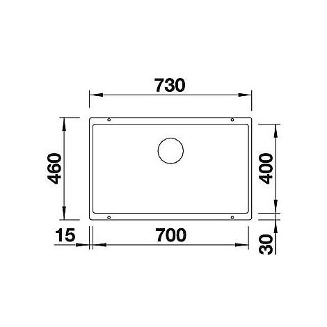 1518390 subline 700-u level blanco lavello 73x46 1 vasca senza sgocciolatoio silgranit antracite