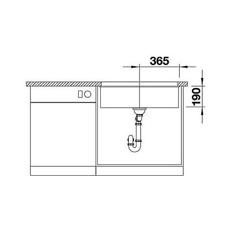 1518392 subline 700-u level blanco lavello 73x46 1 vasca senza sgocciolatoio silgranit grigio seta