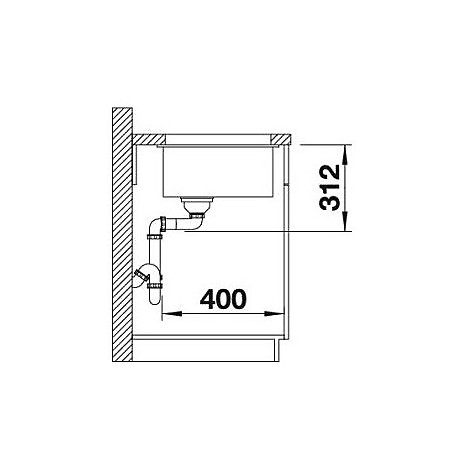 1518393 subline 700-u level blanco lavello 73x46 1 vasca senza sgocciolatoio silgranit bianco