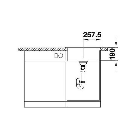 1518523 dalago 5 grigio seta blanco lavello 51x50 1 vasca senza sgocciolatoio silgranit sopratop