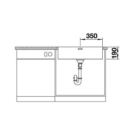 1518616 andano 700-if blanco lavello 74x44 1 vasca senza sgocciolatoio inox satinato