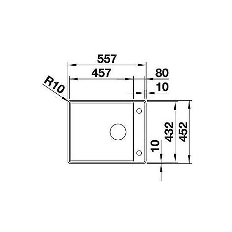 1518819 attika 60/a blanco lavello 56x45 1 vasca senza sgocciolatoio inox satinato