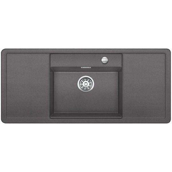 1518820 alaros 6 s nero blanco lavello 116x51 1 vasca sgocciolatoio dx e sx silgranit grigio roc