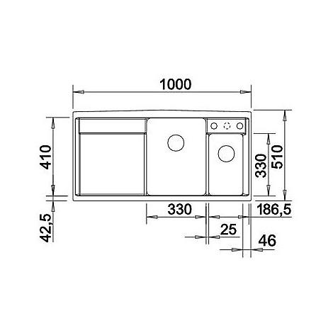 1518830 axia ii 6 s blanco lavello 100x51 2 vasche sgocciolatoio sx silgranit grigio roccia