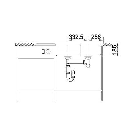 1518837 axia ii 8 s blanco lavello 116x51 2 vasche sgocciolatoio a sx silgranit grigio rocc