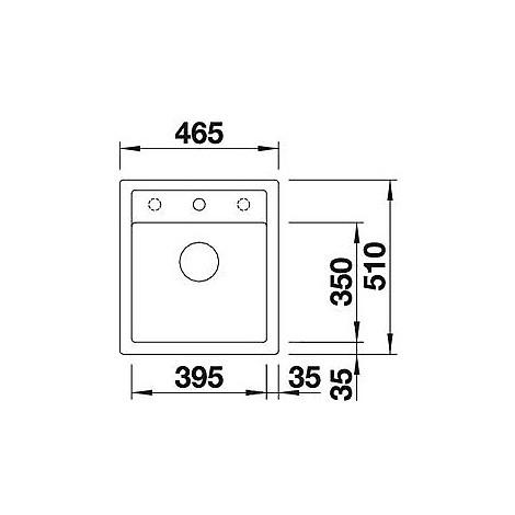 1518846 dalago 45 grigio rocc blanco lavello 47x51 1 vasca senza sgocciolatoio silgranit sopratop