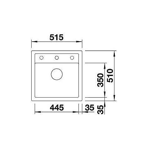 1518848 dalago 5 grigio rocc blanco lavello 51x50 1 vasca senza sgocciolatoio silgranit sopratop
