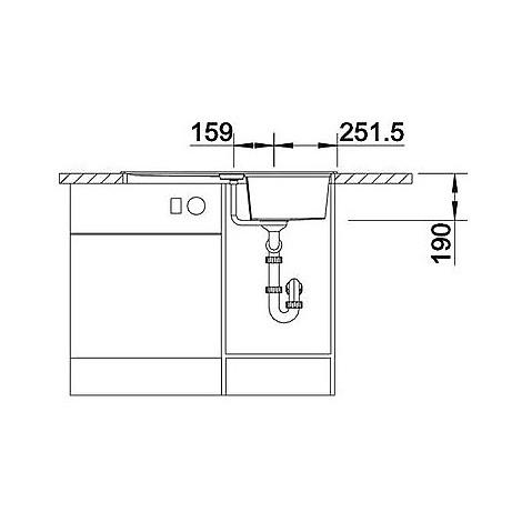 1518859 lexa 45 s blanco lavello 86x50 1 vasca reversibile silgranit