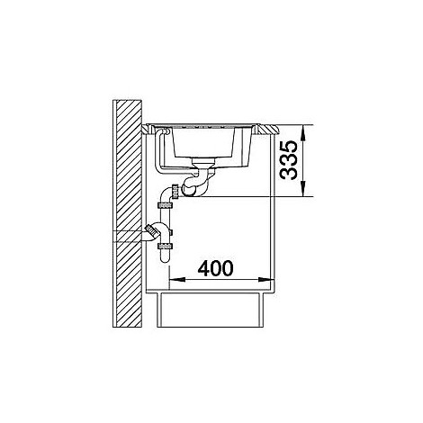 1518861 lexa 6 s blanco lavello 100x50 2 vasche reversibile silgranit grigio roccia