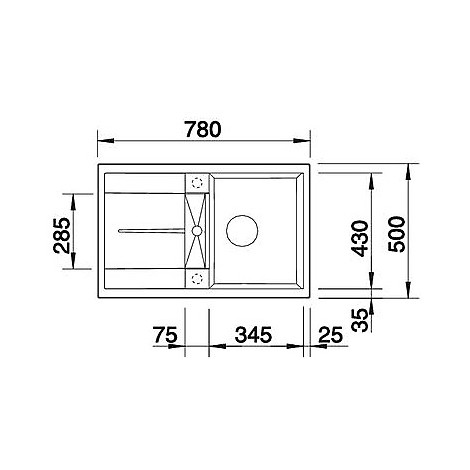 1518869 metra 45 s grigio roc blanco lavello 78x50 1 vasca reversibile silgranit