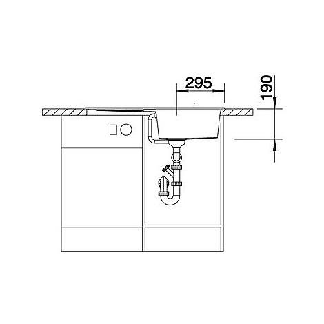 1518872 metra 5 s blanco lavello 86x50 1 vasca reversibile silgranit grigio roccia