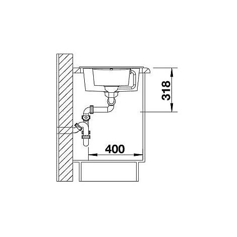 1518876 metra 6 s compact blanco lavello 78x50 2 vasche reversibile silgranit grigio roccia