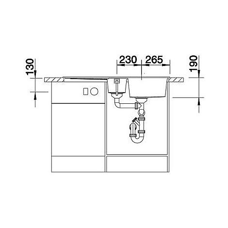 1518878 metra 6 s blanco lavello 100x50 2 vasche reversibile silgranit grigio roccia