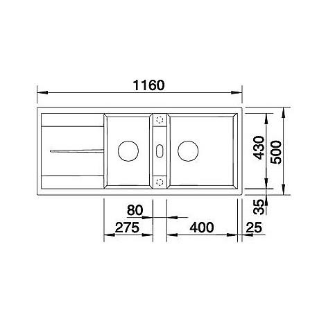 1518884 metra 8 s blanco lavello 116x50 2 vasche reversibile silgranit grigio roccia