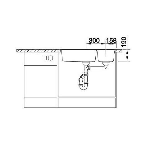 1518886 metra 9 grigio roccia blanco lavello 86x50 2 vasche senza sgocciolatoio silgranit